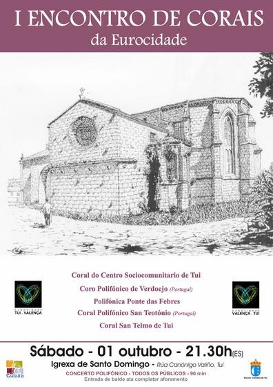 A igrexa de San Domingos acolle o I Encontro de Corais da Eurocidade Tui-Valença
