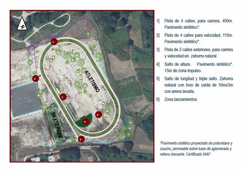 Nigrán contará a finais deste ano cunha pista de atletismo e un parque de skate en Porto do Molle