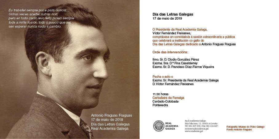A Real Academia Galega celebra o Día das Letras Galegas ao pé da escola onde estudou Antonio Fraguas