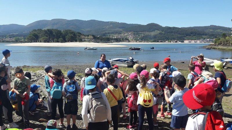 O Obradoiro de Turismo Valmiñor III leva alumnos do CEIP Serra de Vincios de visita polo ecosistema dunar Praia América-Panxón