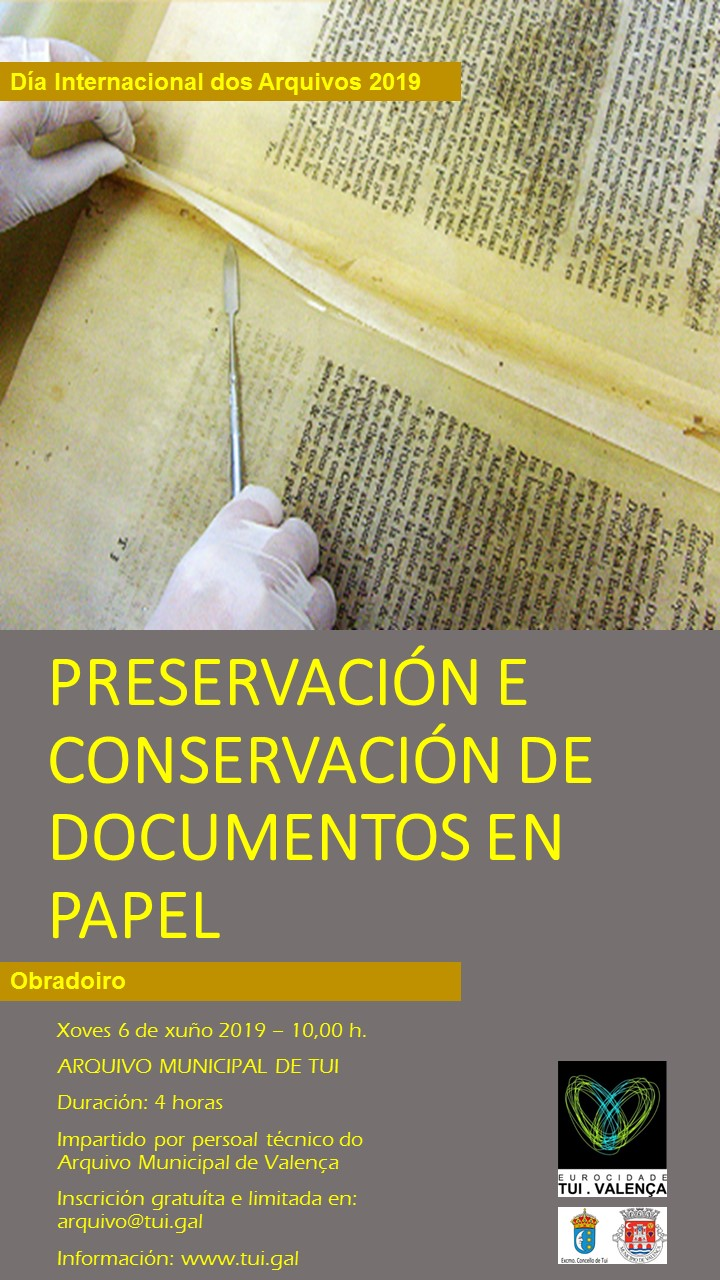 Os Arquivos Municipais de Valença e Tui realizan un obradoiro de Preservación e Conservación de Documentos en Papel