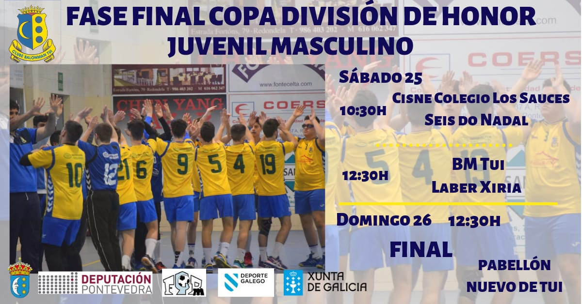 A Fase final da Copa División de Honra Xuvenil Masculina de Balonmán disputarase en Tui