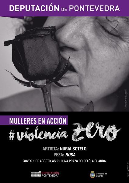 'Mulleres en Acción – Violencia Zero' leva á Guarda a peza «Rosa» de Nuria Sotelo