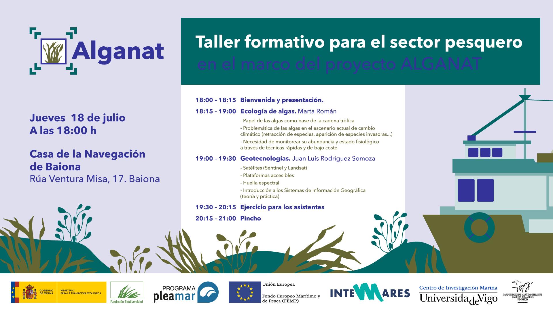O proxecto Alganat organiza en Baiona un taller formativo para o sector pesqueiro