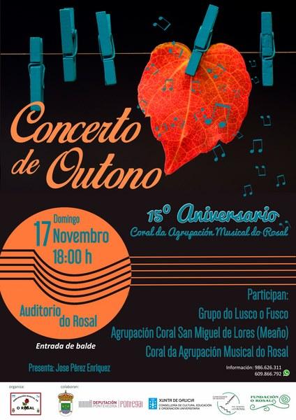 'Concerto de Outono' da Agrupación Musical do Rosal para celebrar o 15º Aniversario da súa coral