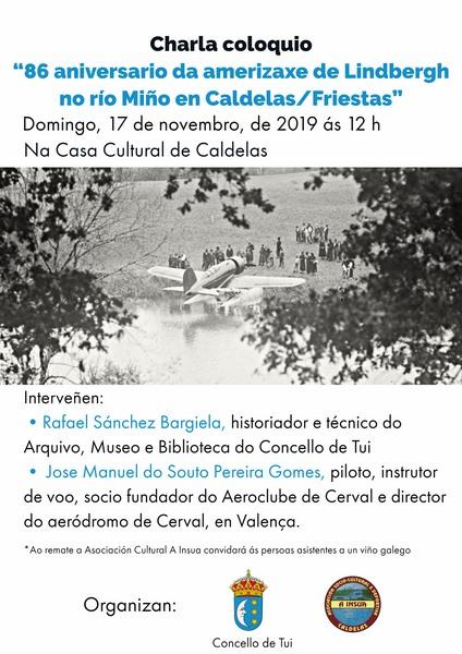 """Charla coloquio """"86 aniversario da amerizaxe de Lindbergh no río Miño en Caldelas/Friestras"""""""