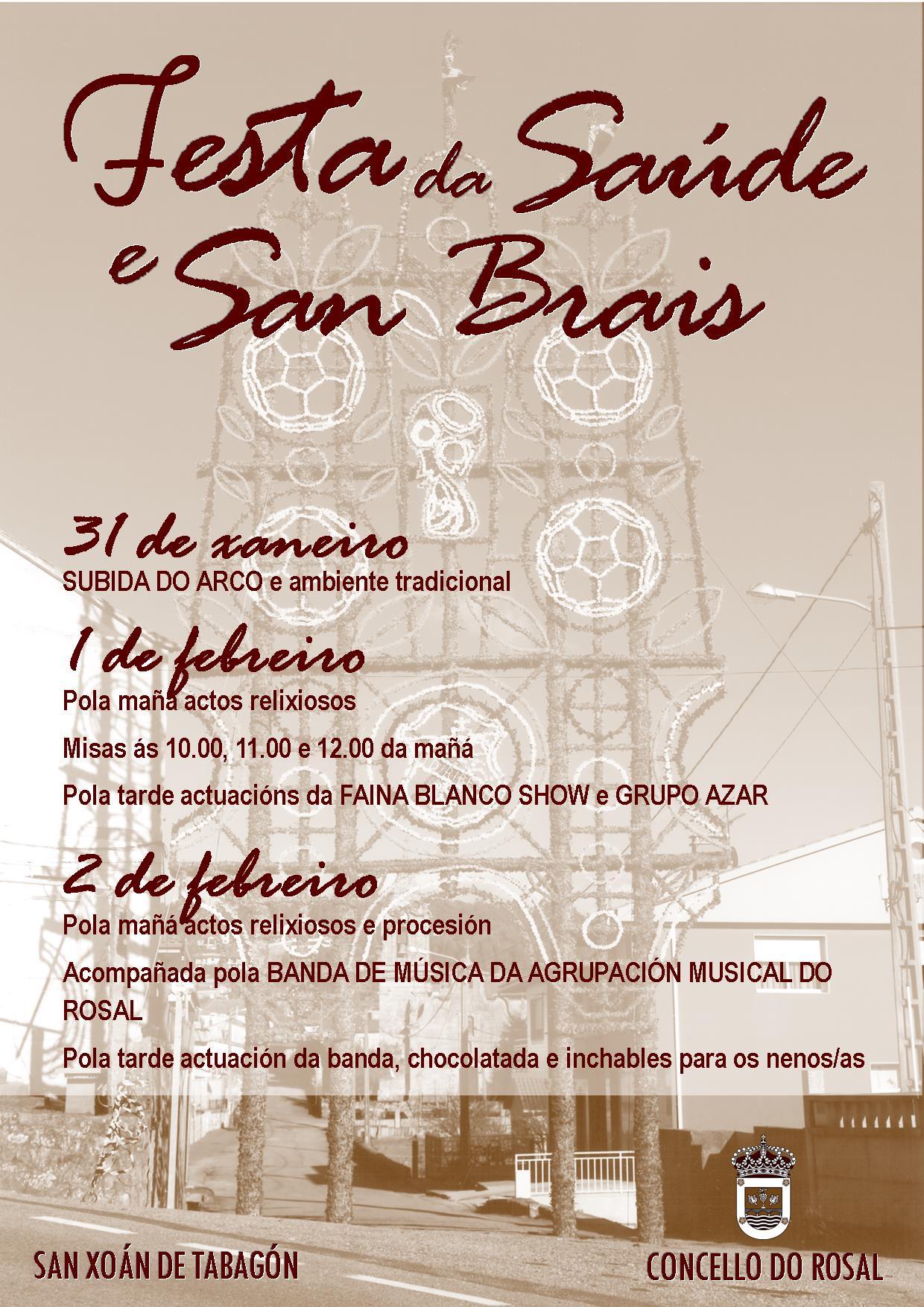 A espectacular 'Subida do Artístico Arco de Tabagón' inicio da Festa da Saúde e San Brais no Rosal