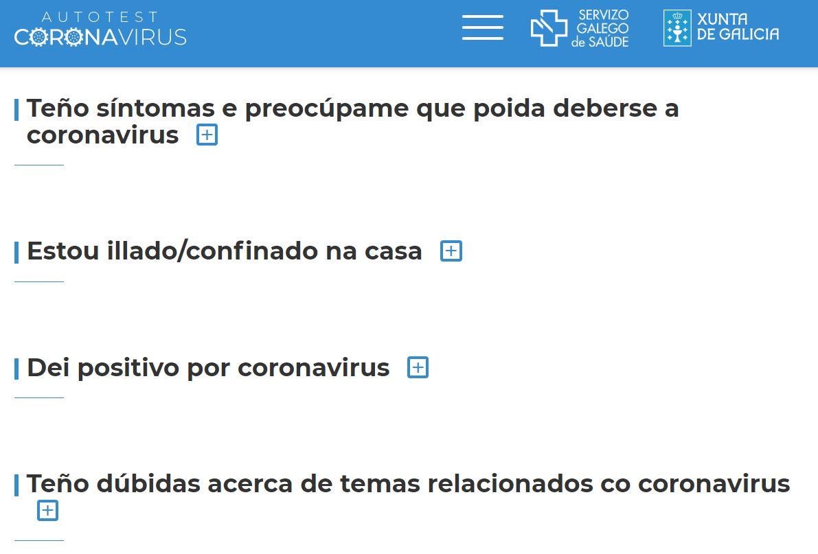 Sanidade pon á disposición da cidadanía un autotest con información sobre o coronavirus na páxina web do Sergas