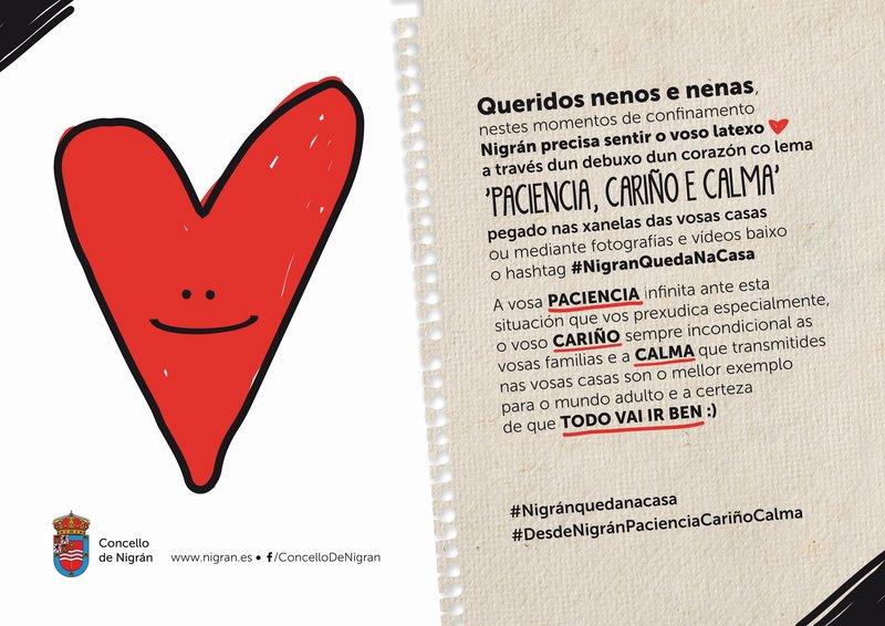 Nigrán lanza a campaña 'Paciencia, cariño e calma' para que nenos e nenas volvan ser protagonistas no concello