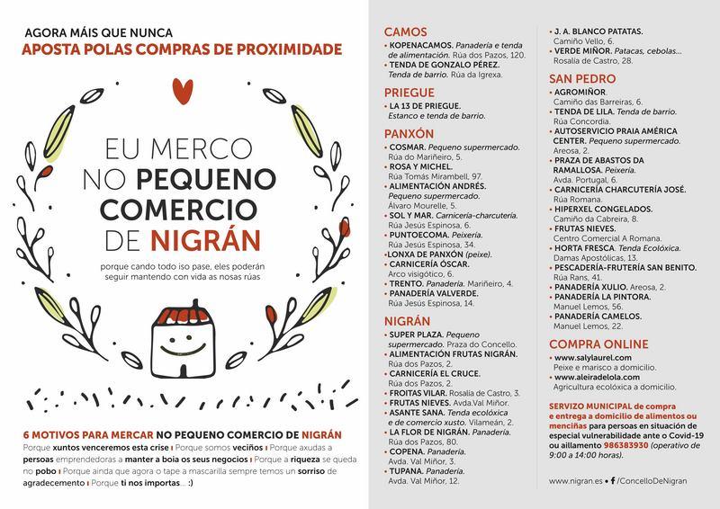 O Concello de Nigrán promove o comercio de proximidade como alternativa segura de compra e garantir a súa supervivencia futura