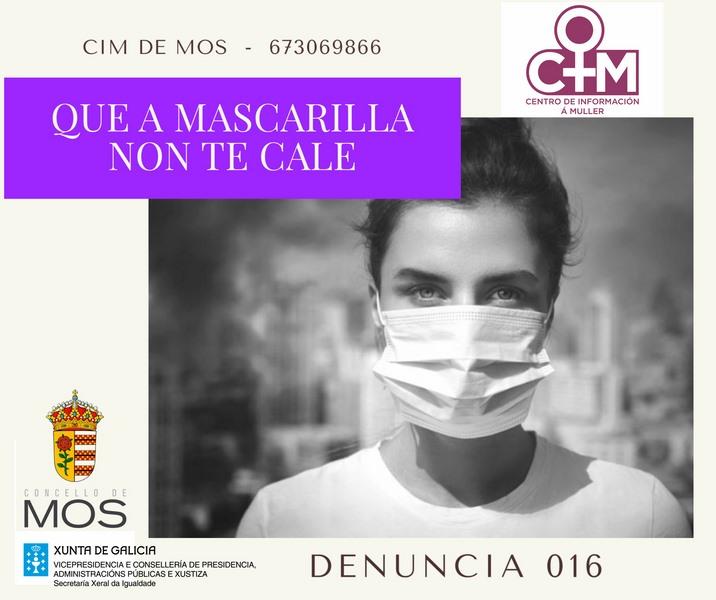 """Mos promove a campaña contra a violencia de xénero titulada """"QUE A MASCARILLA NON TE CALE"""""""