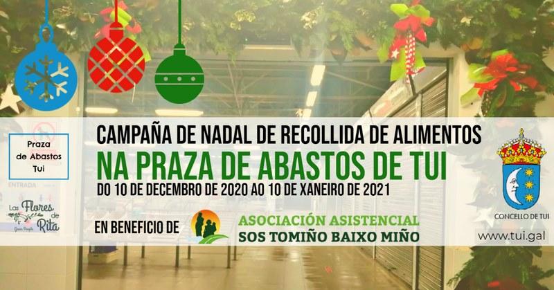 Apraza de Abastos de Tui realiza unha campaña de recollida solidaria de alimentos a favor de SOS Tomiño Baixo Miño