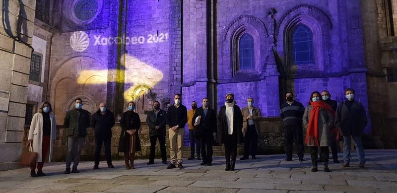 Coa iluminación da catedral arranca en Tui a promoción do Camiño Portugués cara o Ano Santo 2021 no marco da campaña 'Acende o Xacobeo'