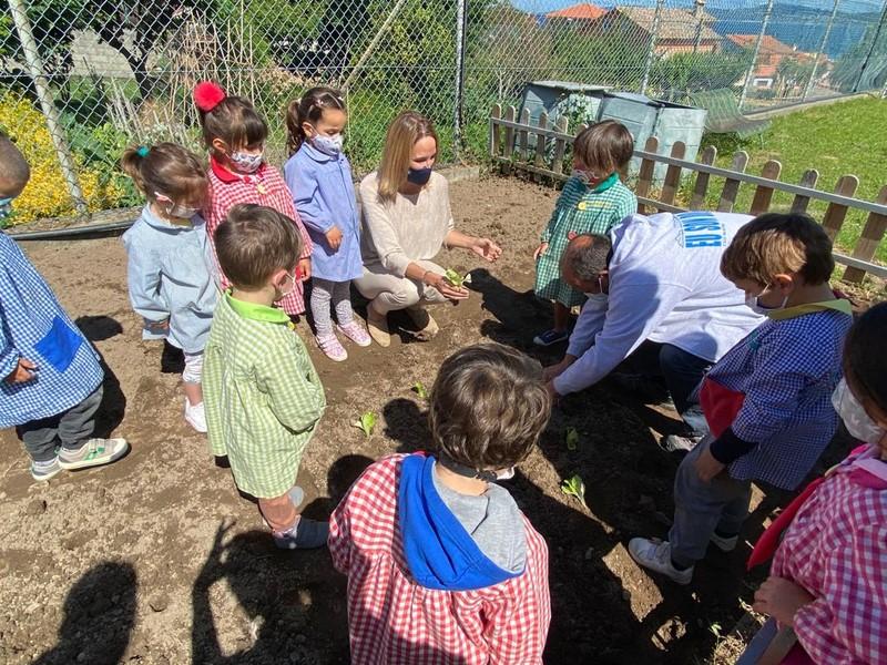 Escolares de vinte centros da área de Vigo aprenden a sementar froitas e hortalizas cos carriños de cultivos da Xunta