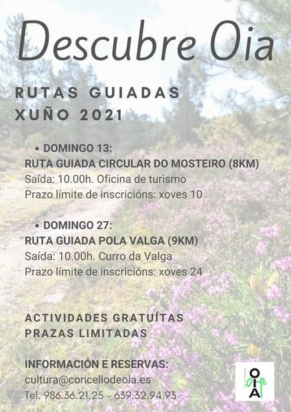 O domingo 13 realizarase a ruta circular do Mosteiro, mentres que o 27 haberá unha andaina pola Valga