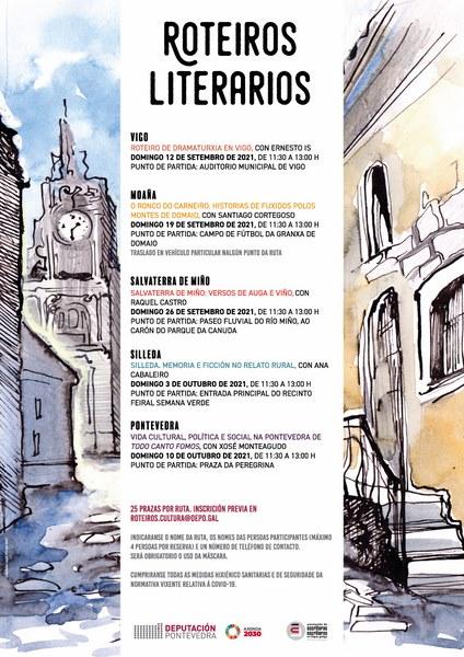 """Os """"Roteiros Literarios"""" arrancan en setembro con cinco paseos por lugares con páxinas na novela, o teatro e a poesía galegas"""