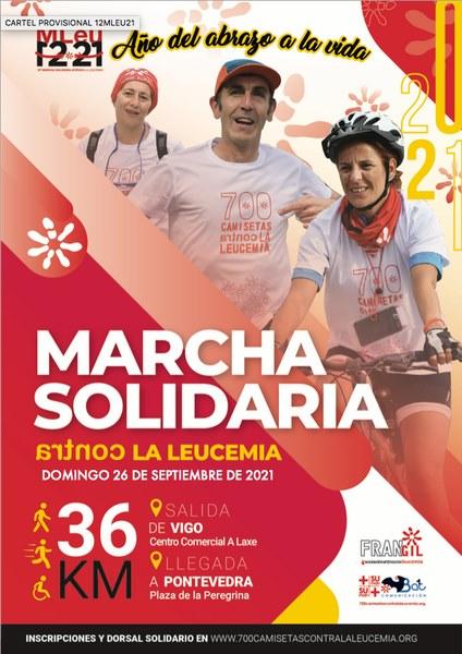 A marcha solidaria «700 camisetas contra a leucemia» reunirá este domingo a 500 persoas camiñando pola vida desde Vigo a Pontevedra
